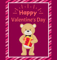 happy valentines day poster teddy toy black tie vector image