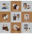Judicial System Colored Icon Set vector image