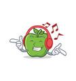 listening music green apple character cartoon vector image
