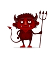 Red Halloween Devil with Trident in Cartoon Style vector image