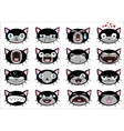 Set of 16 smiley kitten faces vector image