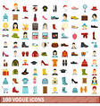100 vogue icons set flat style vector image
