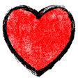 texture red heart with black contour vector image