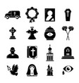 funeral ritual service icons set simple style