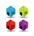 Colorful Logos for real estate market with puzzle vector image