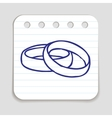 Doodle Wedding Rings icon vector image