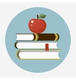 Books with apple flat icon vector image