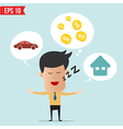 Business man daydream about money house and car vector image