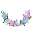 Lilac wreath and birds vector image
