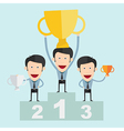Winners with awards at the podium vector image