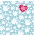 Ruby heart among diamonds seamless pattern vector image