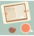 e-book and cup of tea vector image