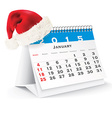 January 2015 desk calendar with Christmas hat vector image vector image