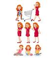 Woman doing different activities vector image vector image