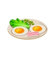Cartoon Breakfast with Bacon Fried Eggs and vector image