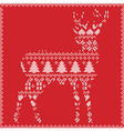 Winter deer on red background vector image