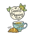 Card with doodle cup of tea and smoke vector image