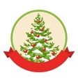 Christmas Winter Label Icon with Decoration vector image