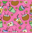 hand drawn seamless patterns summer coctails vector image