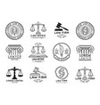 Law office symbols set with scales of justice vector image