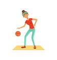 sportive young woman character woman playing vector image