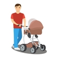 Young father with a baby stroller vector image