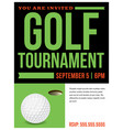golf tournament flyer invitation vector image vector image