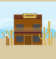 western sheriff house facade template vector image