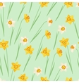 Spring flowers narcissus natural seamless pattern vector image