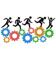 running on gears vector image vector image
