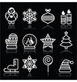 Christmas white icons with stroke on black vector image