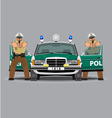 Police car and policemen officer vector image