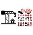 Construction Crane Flat Icon with Bonus vector image