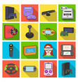 game console and virtual reality flat icons in set vector image