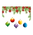 happy merry christmas floral decoration card vector image