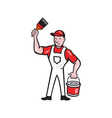 House Painter Holding Paint Can Paintbrush Cartoon vector image