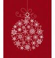 White Christmas ball of snowflakes on red vector image