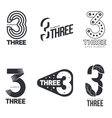 Set of black and white number three logo templates vector image