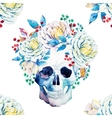 Watercolor skull pattern vector image