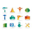 building and construction tools icons - vector image