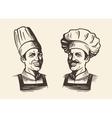 Happy chef in hat Sketch vector image