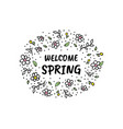 hello spring cartoon sketch vector image