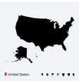 High detailed map of United States with navigation vector image