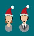 icons support in Santa hats vector image