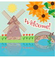 Rural landscape with tulips vector image