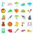 school games icons set cartoon style vector image