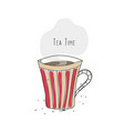 tea time striped cup with hot drink vector image