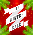 Winter sale big ribbon on red background vector image vector image