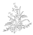 Beautiful bouquet of wild flowers vector image