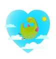 Dragon flying in sky fun cute cartoon vector image
